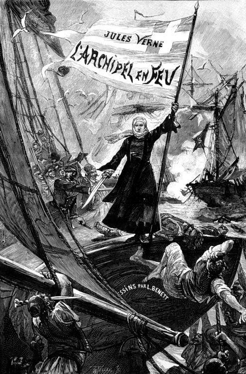 "frontispice du roman de Jules Verne ""L'Archipel en feu"""