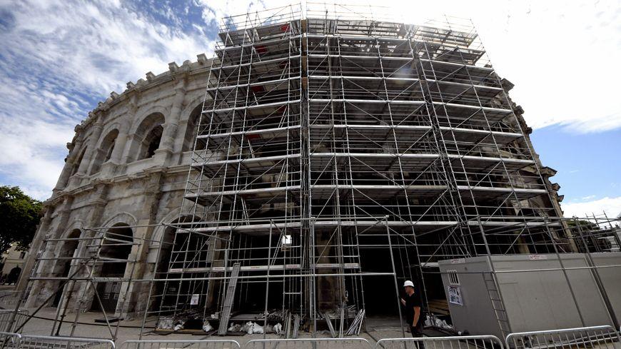 Les arènes de Nîmes en plein travau