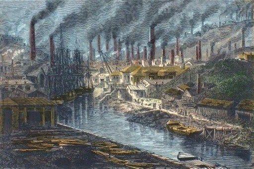 Révolution industrielle : Vue d'ensemble de l'usine a cuivre de Monsieur Vivian a Swansea, Pays de Galles - Royaume-Uni.