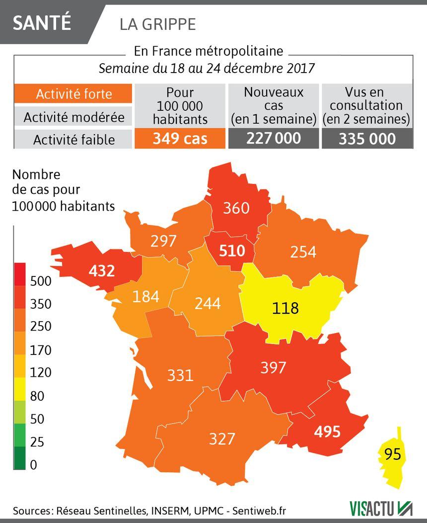 La cartographie de la grippe en France au 27 décembre 2017