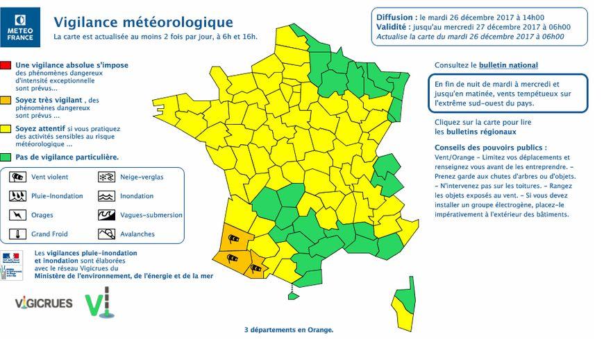 """La vigilance orange """"vent violent"""" concerne les Landes, les Pyrénées-Atlantiques et les Hautes-Pyrénées"""