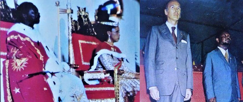 Jean-Bedel Bokassa lors de son auto couronnement et aux côtés Valéry Giscard d'Estaing