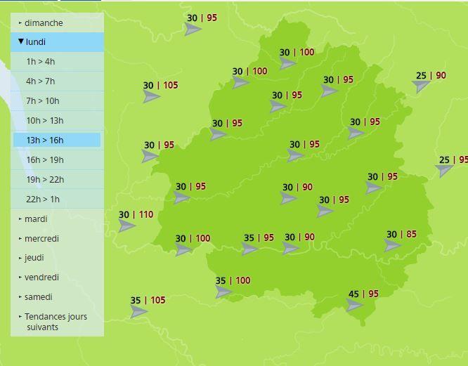 Les prévisions de Metéo France pour l'après-midi du 1er janvier.