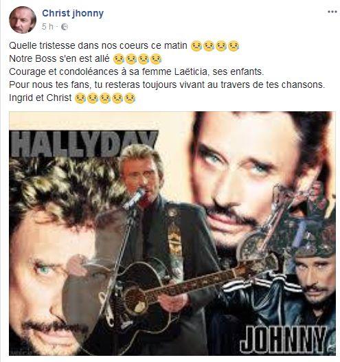 Christ Johnny; trés ému sur sa page facebook