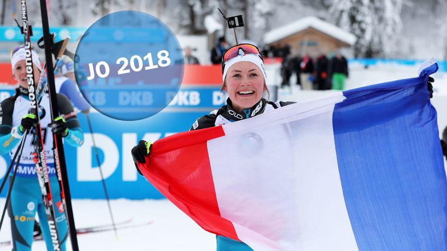 Justine Braisaz lors de sa victoire sur le 12,5 km mass start au Grand Bornand le 17 décembre 2017