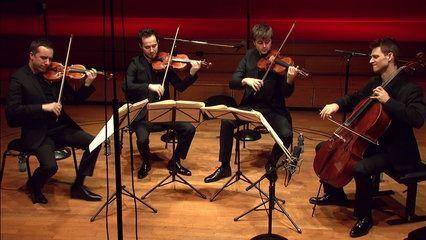 """En concert pour l'émission """"Plaisirs du Quatuor"""", enregistrement le 23 janvier 2017, le Quatuor Ebène joue le Quatuor à cordes n°11 de Beethoven, le Quatuor à cordes n°15 de Mozart, et le Quatuor à cordes en fa majeur de Ravel."""