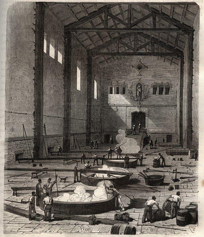 L'industrie du Savon, opération de l'empatage dans la salle des chaudières d'une savonnerie de Marseille - gravure dans 'Les Merveilles de l'Industrie' de Louis Figuier