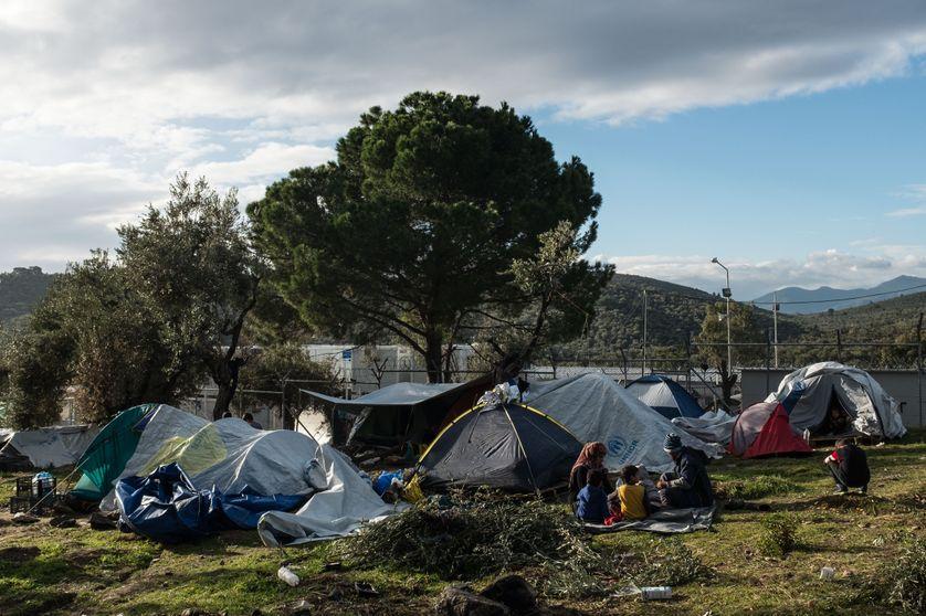Caps de migrants à Lesbos (Grèce)