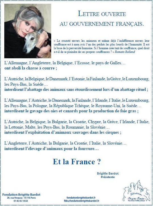 La lettre de Brigitte Bardot publiée sur les réseau sociaux et dans la presse