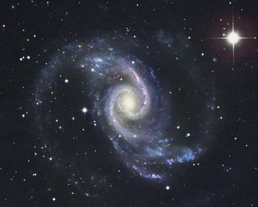 NGC 1566 est une galaxie spirale située a environ 50 millions d'années-lumière. Galaxie active dite de Seyfert, elle abrite probablement un trou noir en son cœur. Image réalisée avec le télescope de 3,9m de Siding Spring