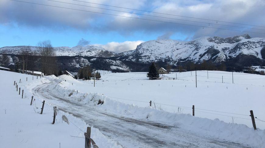 Le plateau du Vercors sous la neige.