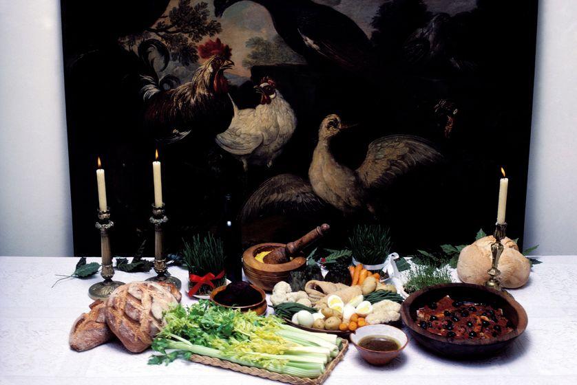 Préparation du repas de Noël, dans les Baux-de-Provence, en France