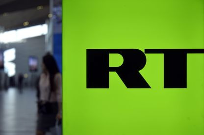 Logo de la chaîne RT à Saint-Pétersbourg