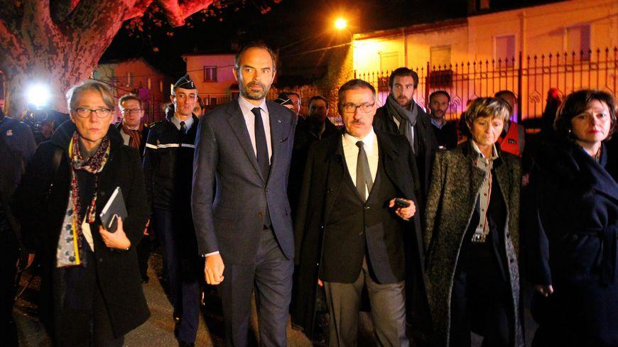 Le Premier ministre Édouard Philippe, le préfet des Pyrénées-Orientales Philippe Vignes, la ministre des Transports Elisabeth Borne et la présidente de la région Occitanie Carole Delga à MIllas.