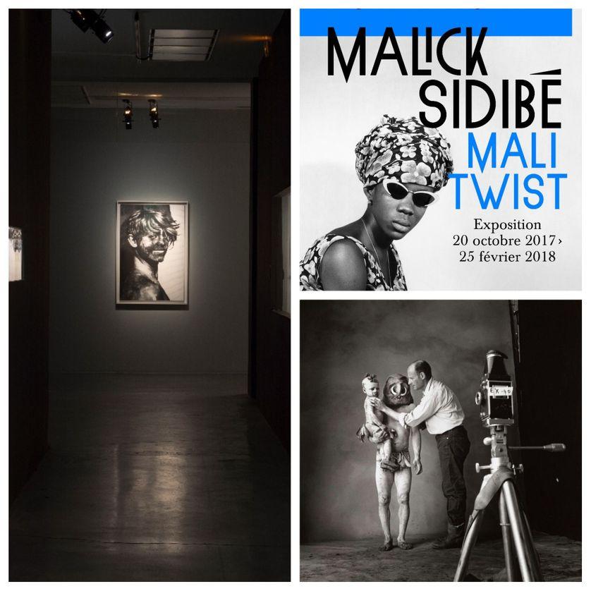 """A gauche : Vue de l'exposition """"Etranger résident"""" ; en haut à droite : affiche de """"Mali Twist"""" ; en bas : Irving Penn"""