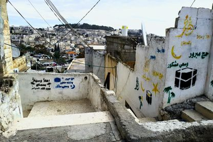 A Silwan, quartier palestinien de Jérusalem, des graffitis contre l'occupation