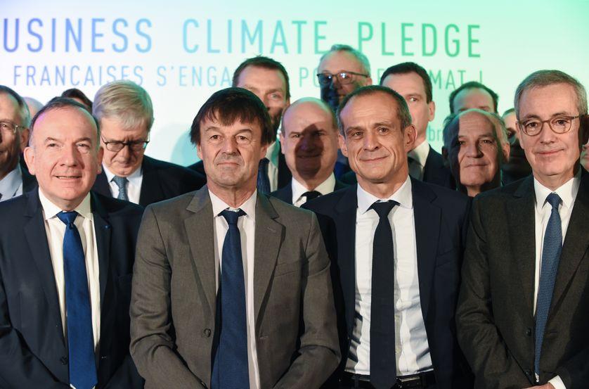 Le Président du Medef Pierre Gataz, le Ministre de l'Ecologie Nicolas Hulot,  le Président de Schneider Electric Jean-Pascal Tricoire, et le Président de Solvay Jean-Pierre Clamadieu, au French Business Climate Pledge, le 11/12/17