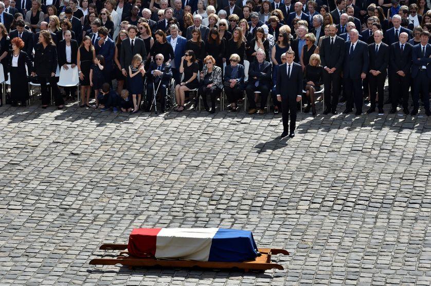 Le Président Emmanuel Macron lors de l'hommage national à Simone Veil, le 5 juillet 2017 aux Invalides
