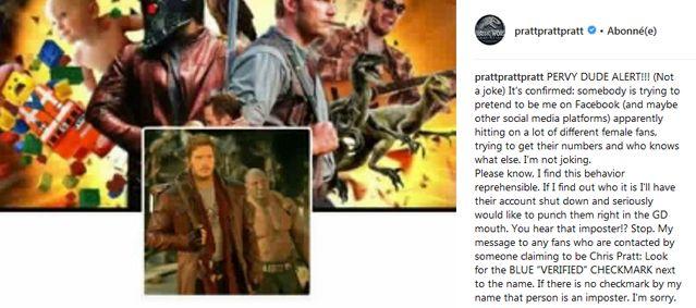 L'acteur Chris Pratt s'inquiète d'une usurpation d'identité