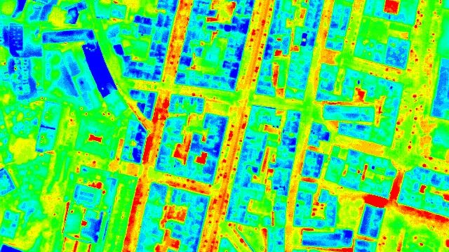 Le centre ville de Bastia, cliché en thermographie aérienne