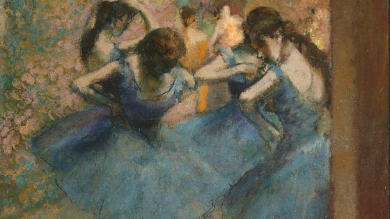 """Edgar Degas """"Danseuses bleues"""" vers 1890, huile sur toile, H. 0.853 ; L. 0.753, Musée d'Orsay, Paris, France"""