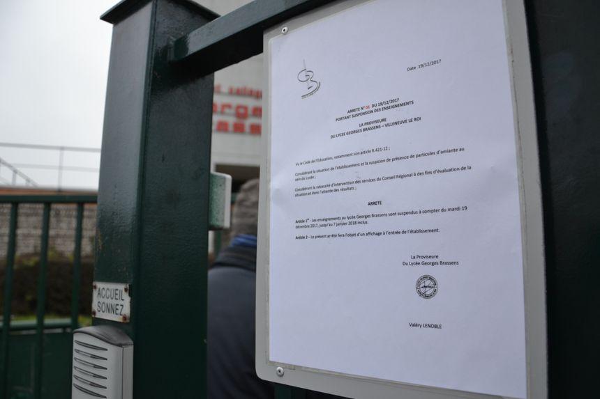 Lycée fermé depuis le mardi 19 décembre