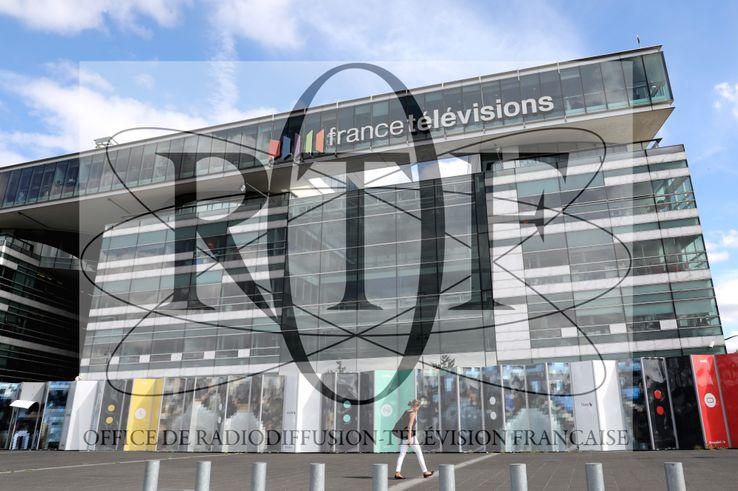 Le siège de France Télévisions à Paris, le 4 septembre 2017. Avec en arrière-plan le logo de l'ORTF