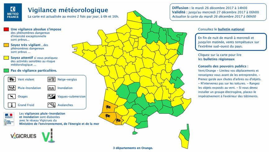 Trois départements du Sud-Ouest sont en alerte orange jusqu'à mercredi midi