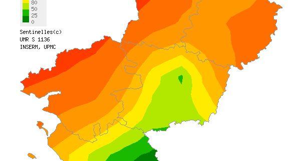 La carte régionale de l'épidémie de grippe délivrée par le réseau Sentinelles