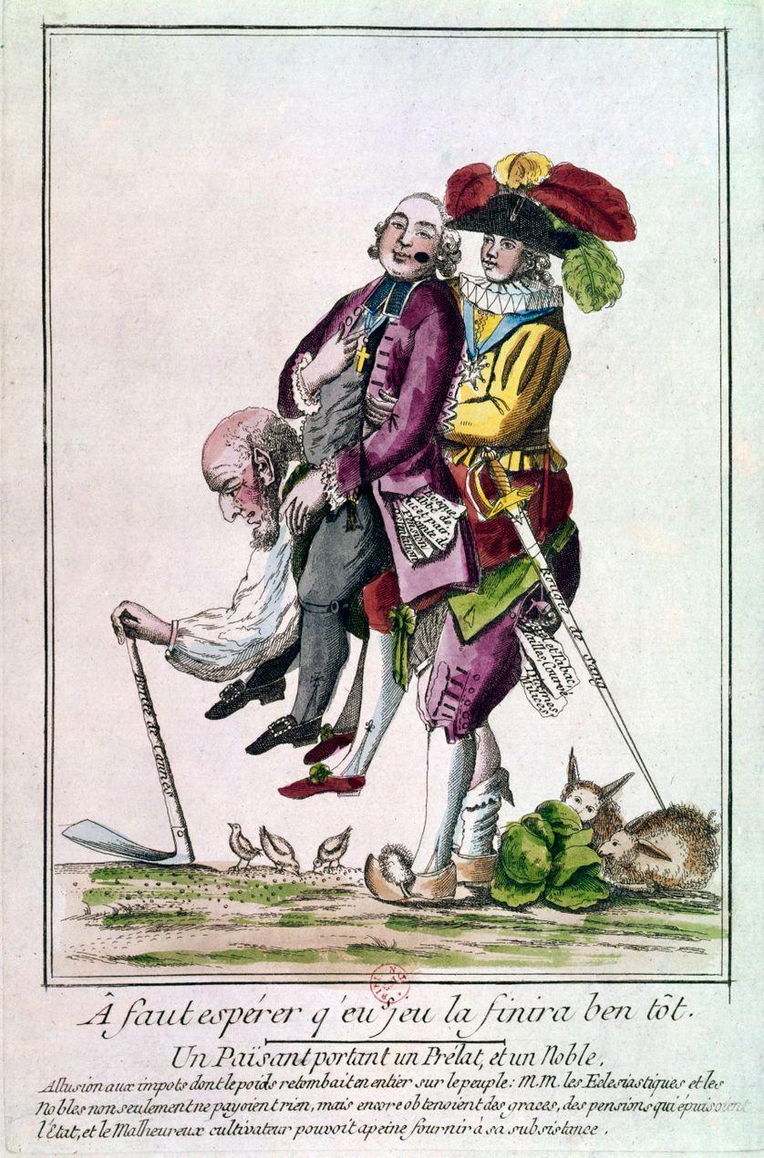 """Gravure de 1789. """"A faut esperer qu'eu se jeu la finira ben tot"""". Un paysan symbole du tiers etat  portant sur son dos un prélat (clergé) et un noble (noblesse)/"""