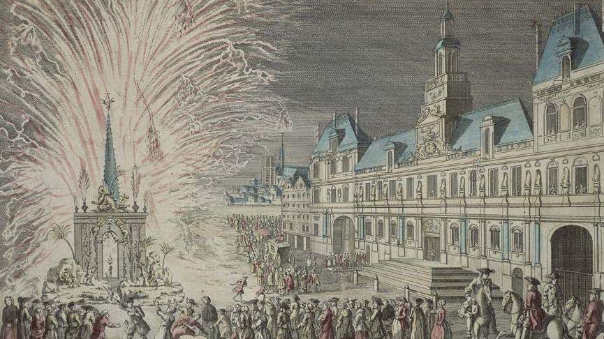 Un feu d'artifice tiré peuis le parvis de l'hôtel de ville de Paris en 1763.