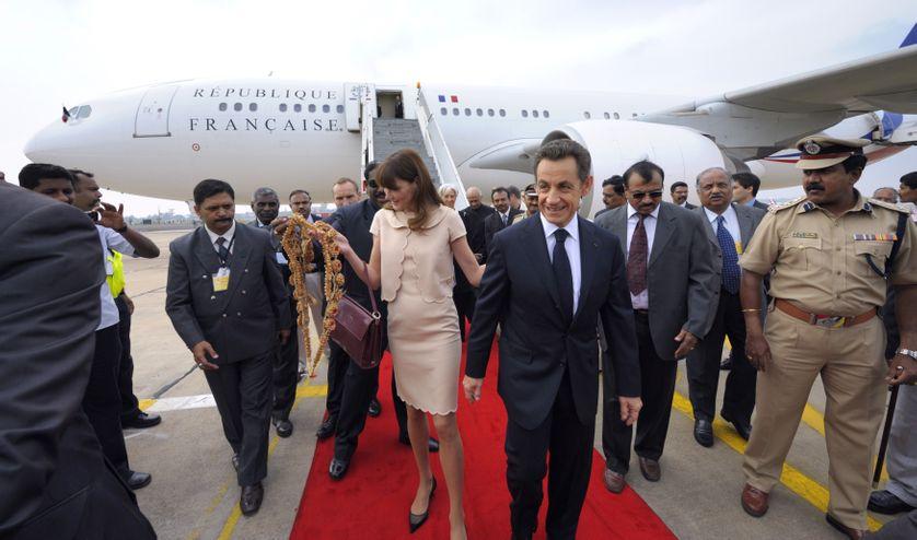 Le nouvel A330 présidentiel emmène Nicolas Sarkozy et Carla Bruni à Bengalore, le 4 décembre 2010.