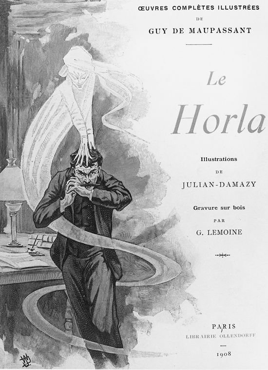 "Couverture de livre, ""Le Horla"" de Guy de Maupassant, William Julian-Damazy (drawings), Georges Lemoine (engraving)"