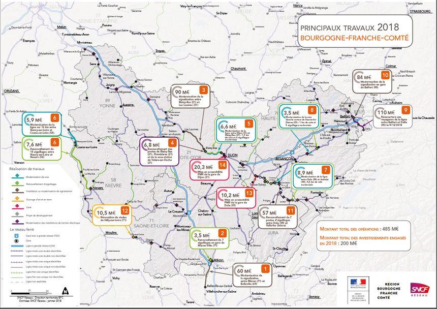La carte des travaux 2018 en Bourgogne-Franche-Comté
