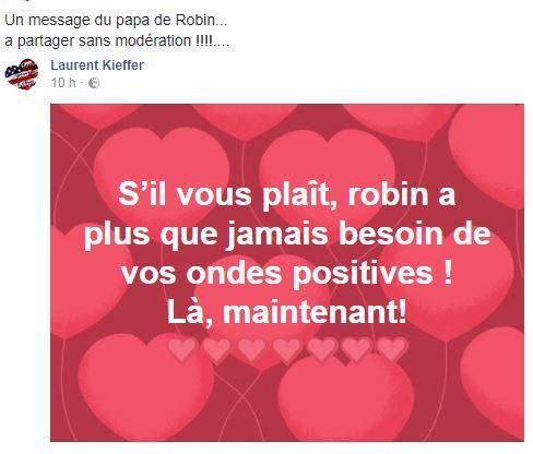 Le dernier message du père de Robin sur Facebook