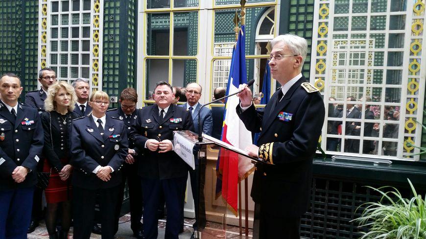 Lors de la cérémonie des voeux du préfet de Gironde aux forces de l'ordre