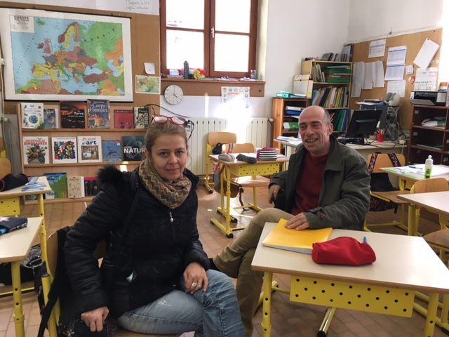 Laurence Boulet et Frédéric Vaquier, enseignants à Aulas.