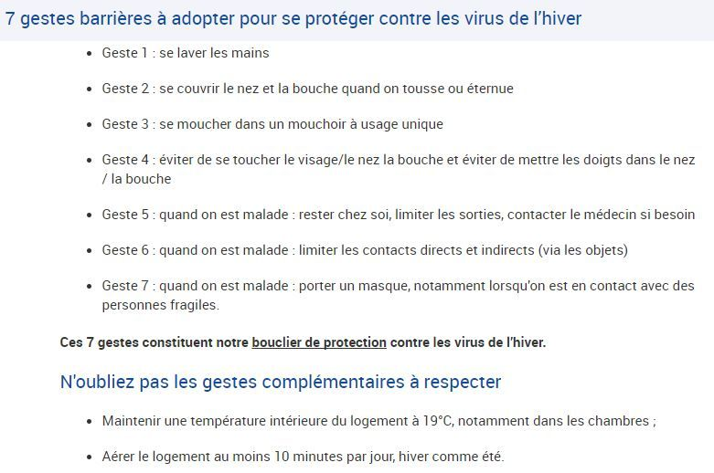 L'ARS préconise sept gestes à adopter pour se protéger des virus de l'hiver
