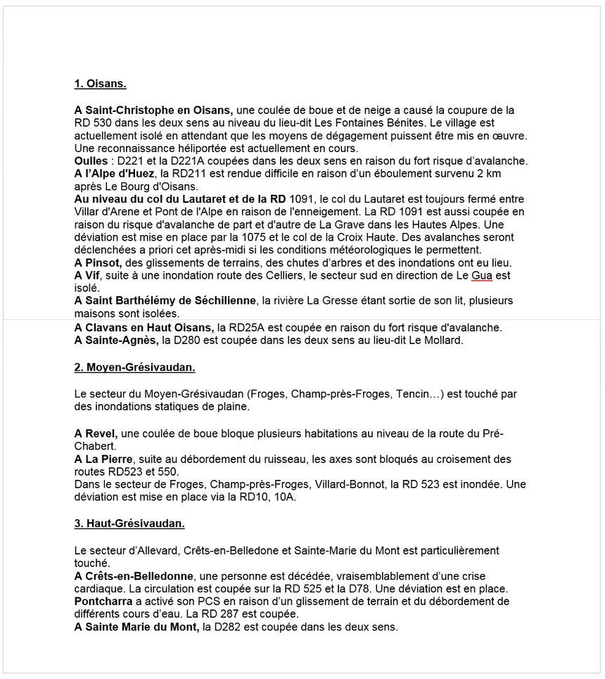 Communiqué de la préfecture de l'Isère ce jeudi après-midi.