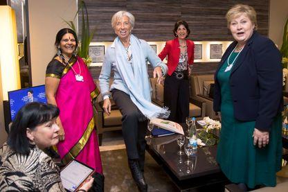 Chetna Sinha avec Christine Lagarde à Davos