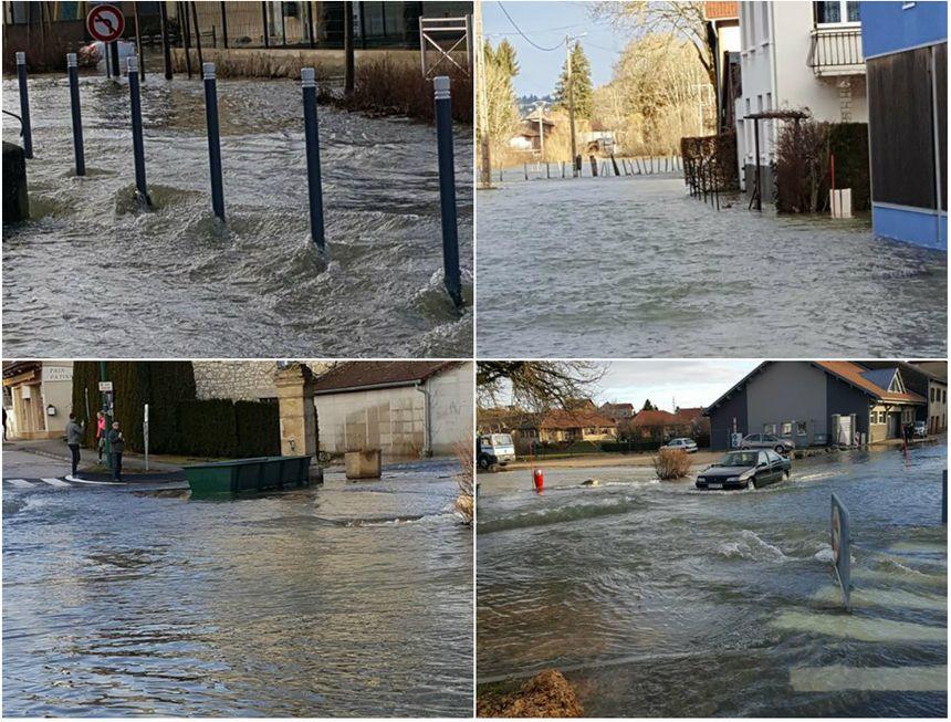 Les rues de Doubs inondées.