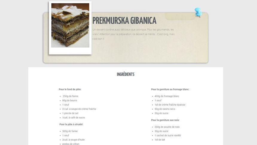 Exemple de recette avec ce gateau slovène très calorique !