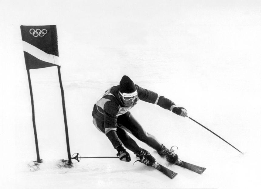 Pour l'épreuve de slalom gant, Jean-Claude Killy signe une première manche parfaite.