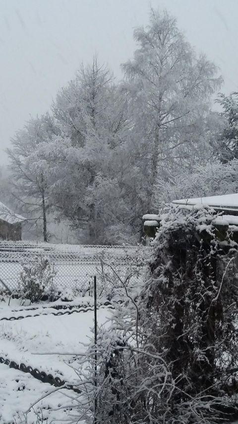 Aumont Aubrac ce vendredi matin sous la neige. Photo de Martine Leze.