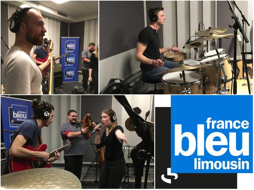 Romain à la basse, Julien à la batterie, Lenny à la guitare, Jonas à la cornemuse et Axelle au chant...
