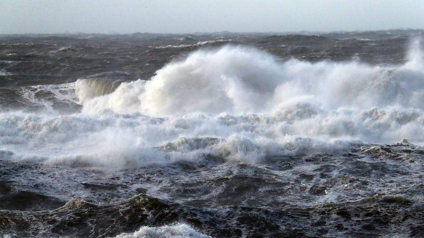 Passage de la tempête Carmen à Lacanau en Gironde le 1er janvier
