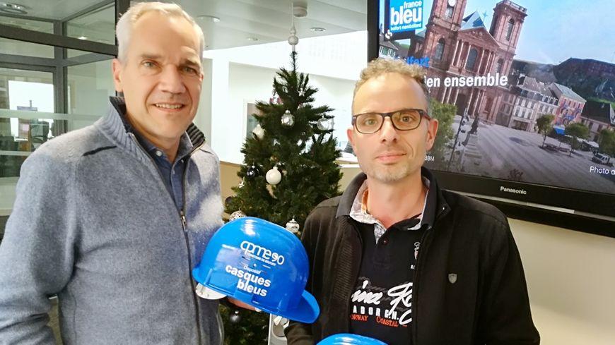 Bernard Hennequin et Cédric Voiland, vice-présidents de la CPME du nord Franche-Comté sont très impliqués dans le dispositif casques bleus.