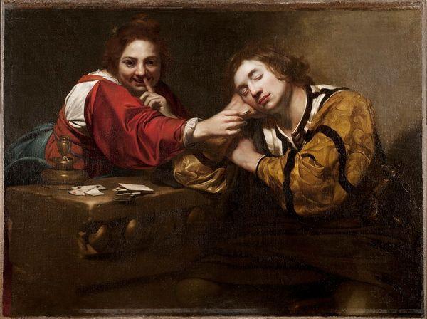 Nicolas Régnier, Le Camouflet, huile sur toile, H. 1,01 x L. 1,33 m, Stockholm, Nationalmuseum, NM 7077