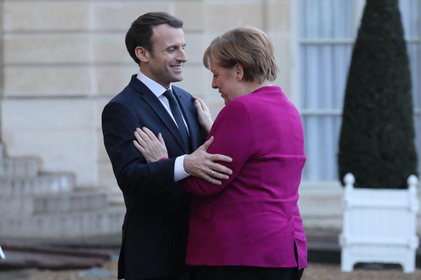 Angela Merkel reçue à l'Elysée par Emmanuel Macron, le 19 janvier 2018
