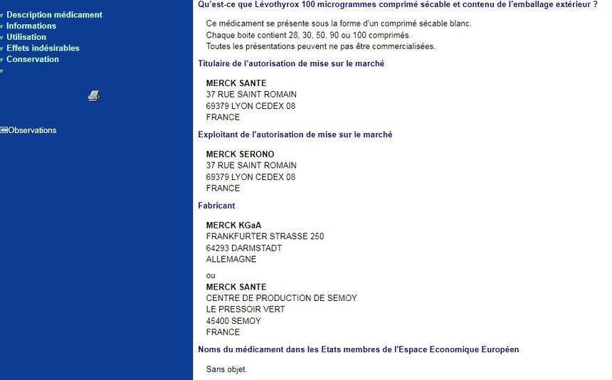 La notice du Levothyrox sur le site de l'Agence Nationale de Sécurité du Médicament - Aucun(e)